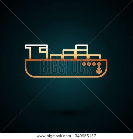 Gold Line Cargo Ship With Boxes Delivery Service Icon Isolated On Dark Blue Background. Delivery, Tr