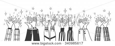Doodle Applause. Cartoon Hand Drawn Crowd Clapping Hands Vector Illustration, Sketched Group Cheers