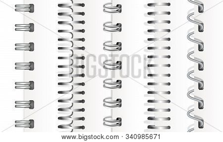 Set Of Silver Vertical Spirals For Notebooks And Calendars. Spiral Bindings For Sheets Of Paper. Iso