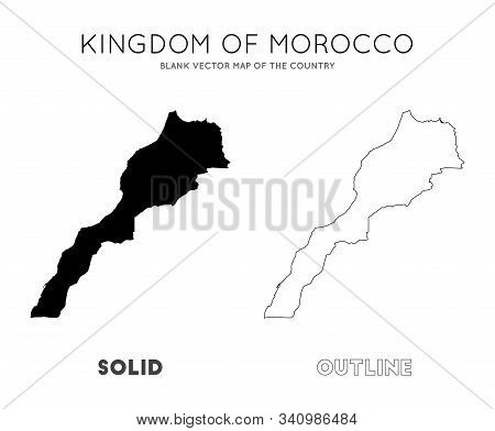 Morocco Map. Blank Vector Map Of The Country. Borders Of Morocco For Your Infographic. Vector Illust