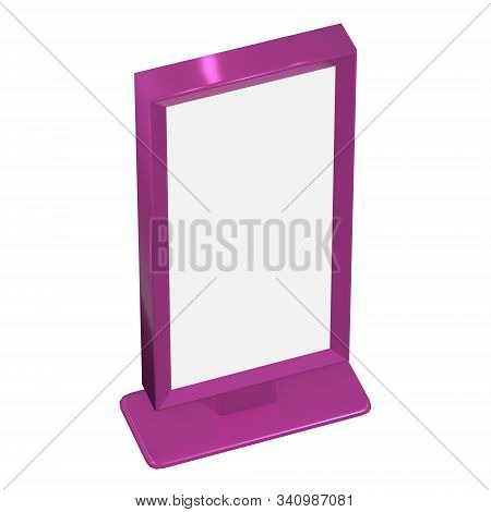 Lcd Screen Stand. Blank Trade Show Booth. 3d Render Of Lcd Tv Isolated On White Background. High Res