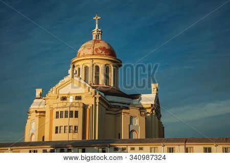 Chapel And Cathedral At The Sanctuary Of Our Lady Of Caravaggio On Sunset, In The Countryside Near B