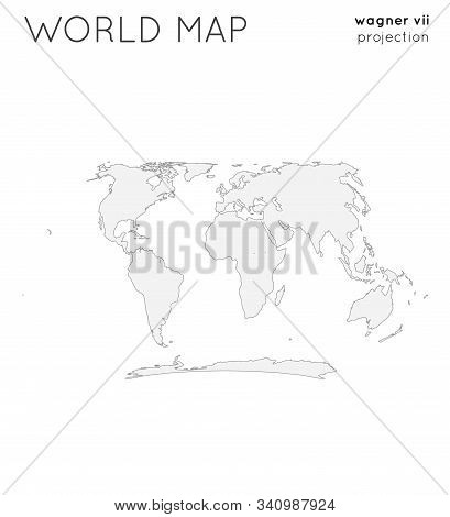 World Map. Globe In Wagner Vii Projection, Plain Style. Outline Vector Illustration.