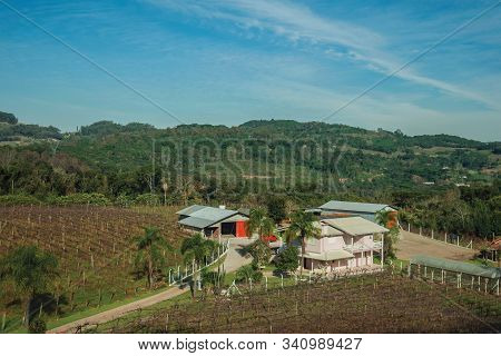 Facade Of An Old Charming Shack Made Of Wood In A Traditional Rural Style With Lush Vegetation, Near