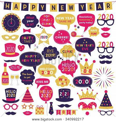 Happy New Year 2020 Photo Booth Props, Vector Party Signs And Decoration Set