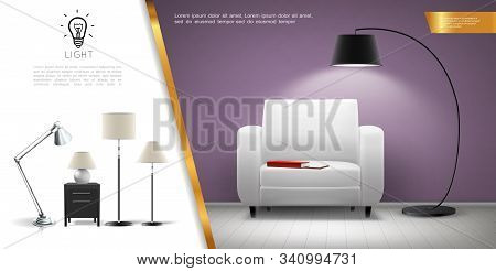 Realistic Home Lighting Equipment Concept With Armchair Shining Floor And Table Lamps Vector Illustr