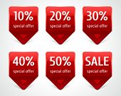 Vector arrow sale stickers set. Transparent shadow easy replace background and edit colors. poster