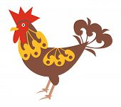 Decorative rooster on white background- vector illustration poster