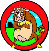 Mad cow in cartoon style with an angry expression standing in front of a farm on a field poster
