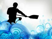 Stylized vector illustration silhouette of a canoe slalom player on a water wave effect background. EPS10. poster