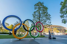 Tokyo, Japan - November 1,2019 : The Five Ring Symbol Of The Olympic Games At Tokyo Museum And New S