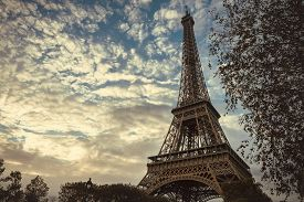 View On Eiffel Tower Through Tree Leaves. Vintage Image Of Eiffel Tower. Stunning Eiffel Tower In Pa