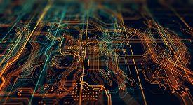 Science Technology. Technology With Line Pattern On Blue Background. Modern Hi-tech Digital Technolo