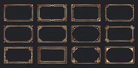 Golden Art Deco Frames. Vintage Decorative Frame, Gold Ornaments Borders And Geometric Lines Ornamen