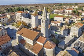 An Aerial View Of Svetvincenat, Istria, Croatia With Parish Church Of The Annunciation Of Mary And