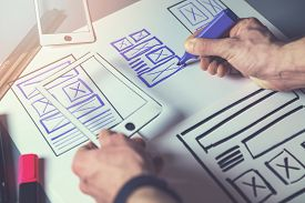 Ux Graphic Designer Sketching Wireframe For Mobile App And Website Development