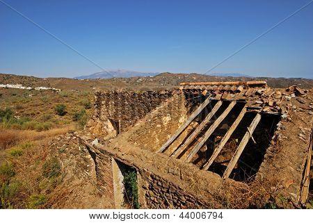 Farmhouse ruin in countryside, Andalusia.