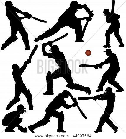 Cricket game silhouettes
