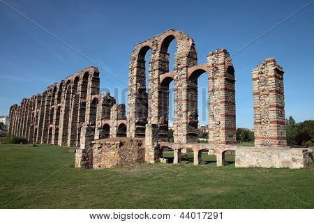 A Roman Aqueduct In Merida, Spain