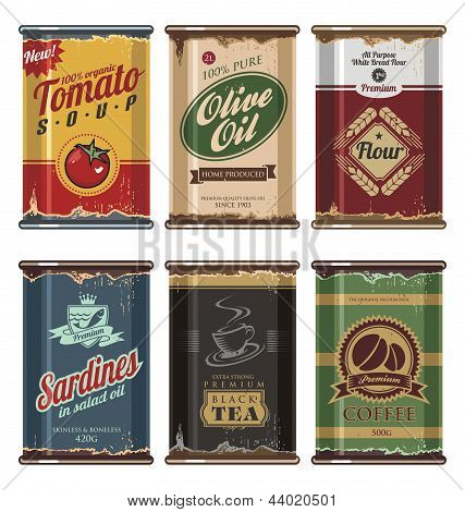 Retro and vintage food cans vector collection. No gradients, no transparencies, no drop shadow effects, only fill colors. Grunge effects can be easily removed for brand new can. poster