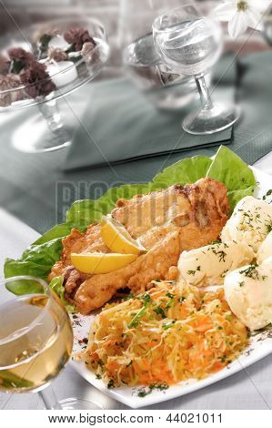 Breaded Meat With Potatoes