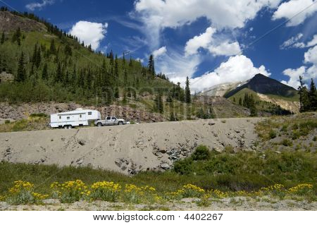 Recreational Vehicle In The Mountains