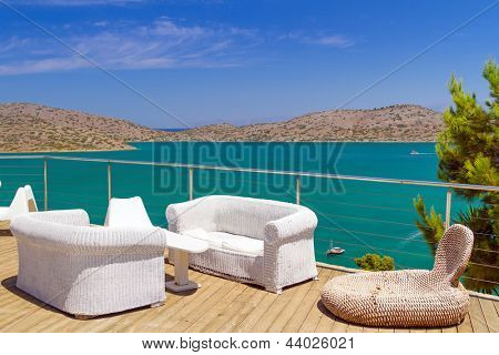 White sofas with Mirabello Bay view on Crete poster