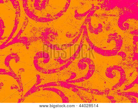 Oriental ornament in pink and orange