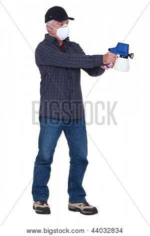 Man with a pressure sprayer