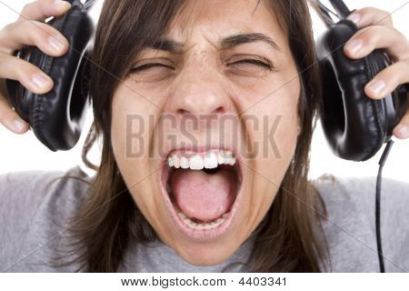 Teenager Shouting With Headphones