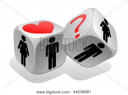 Gambling dices isolated on white background with symbols woman and man