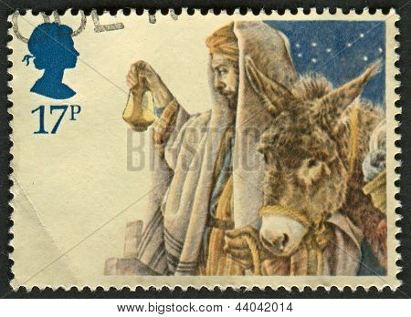 UK - CIRCA 1984: A stamp printed in UK shows image of The arrival in Bethlehem, circa 1984.