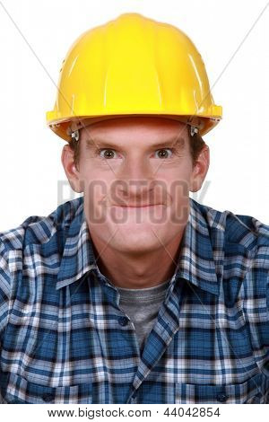 Tradesman making a silly face