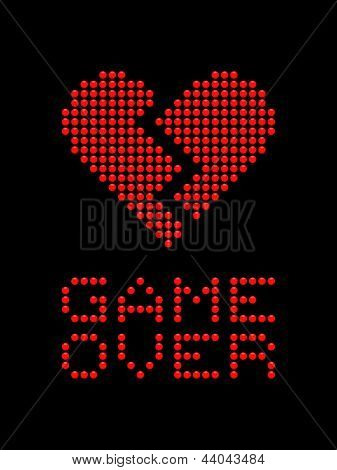 Game Over Heartbreak LED Board
