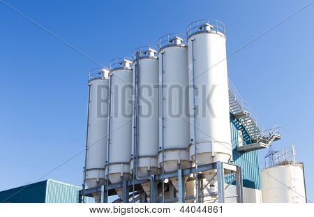 Large Concrete Containers An An Industrial Premises
