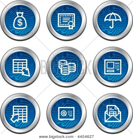 Banking Web Icons Blue Electronics Buttons Series