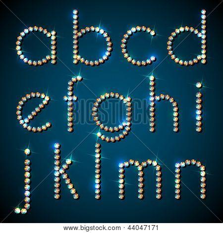 Shiny diamond alphabet letters, lower case version - eps10
