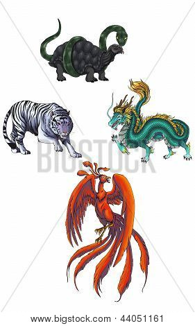 4 Chinese mythical creature gods (Shijin)