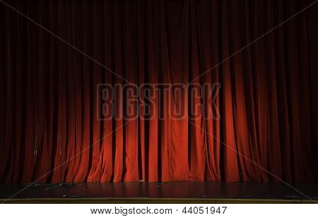 Red Stage Curtain Hide Coming Show Action