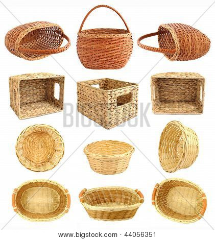 Set Of Wicker Basket Isolated On White Background