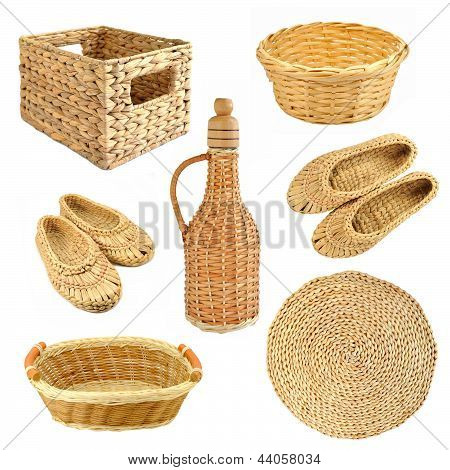 Set Of Wicker Object Isolated On White Background