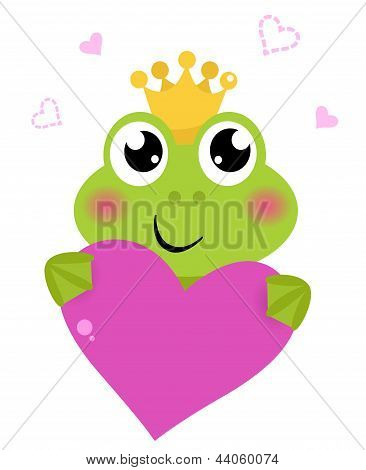 Cute Frog Holding Pink Heart Isolated On White