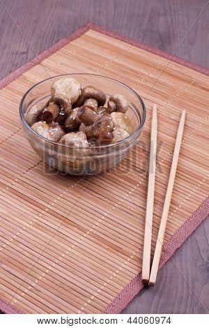 Fried Mushrooms With Chopsticks