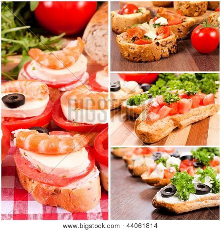 Bruschetta sandwiches with meatcheese and vegetables in collage poster