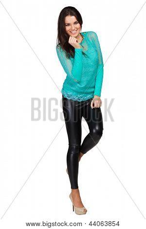 Elegant glamour woman wearing green blouse and leggins