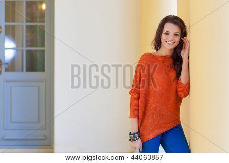 Young beautiful woman wear sweater