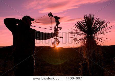 Bowhunter in Sunrise