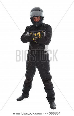 Guy In Motorcycle Clothes