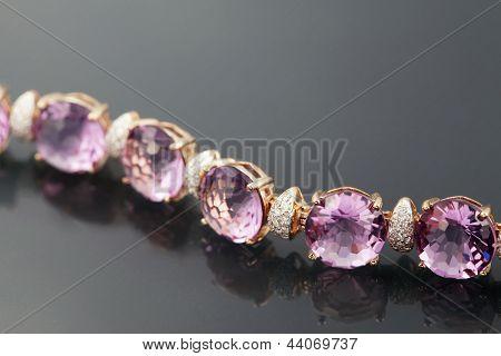 Golden Jewelry Bracelet With Amethyst