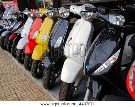 Moped Motorbikes In A Row